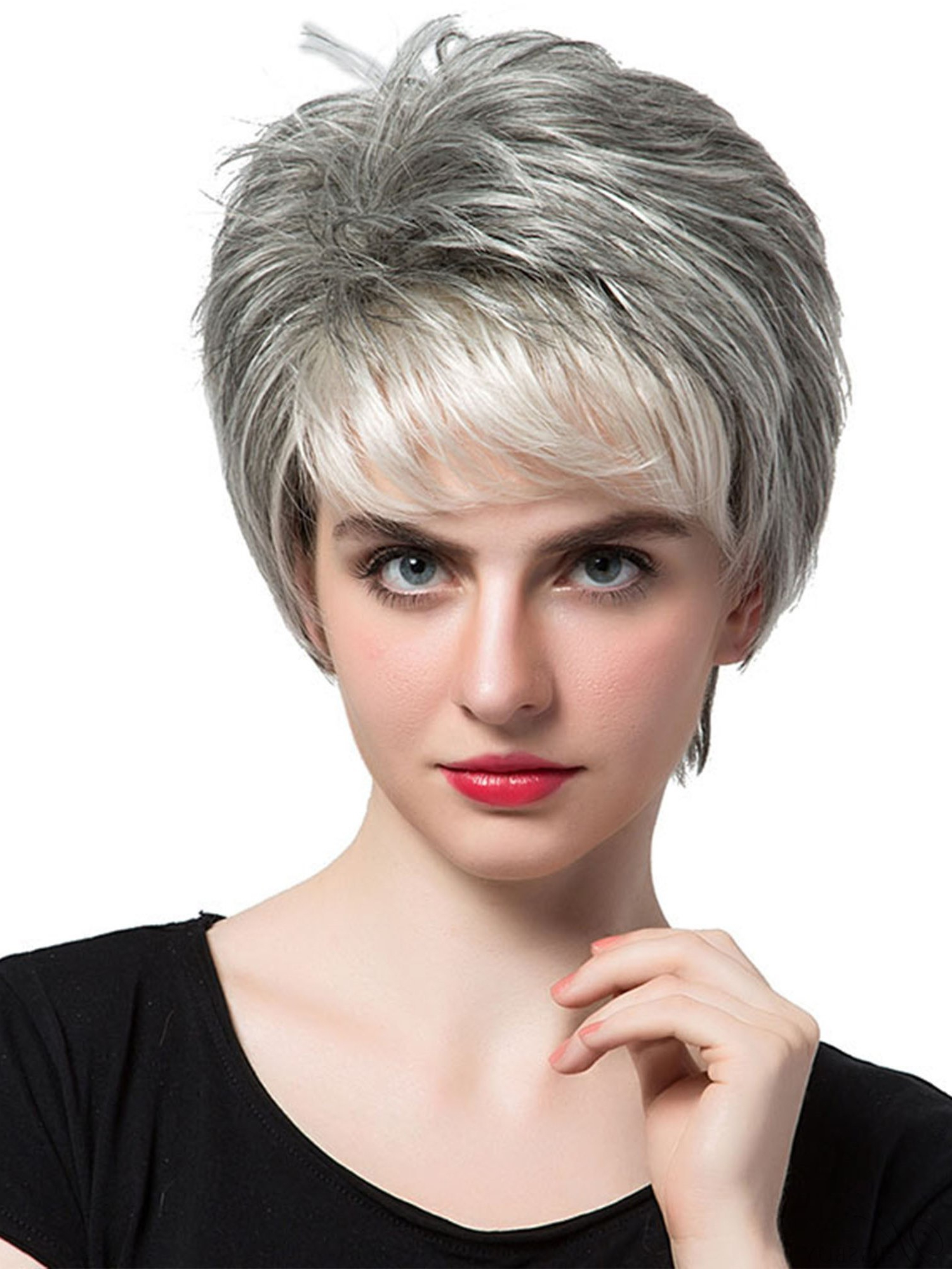 Salt And Pepper Short Straight Capless Wigs With Bangs Human Hair Pertaining To Messy Salt And Pepper Pixie Hairstyles (Gallery 13 of 20)