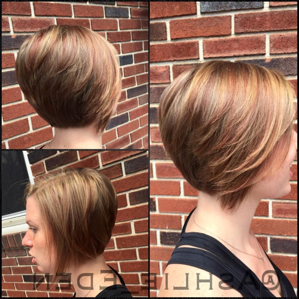Short Bob Long Front Layers And Stacked In The Back. Blonde And Intended For Short Ruffled Hairstyles With Blonde Highlights (Gallery 8 of 20)