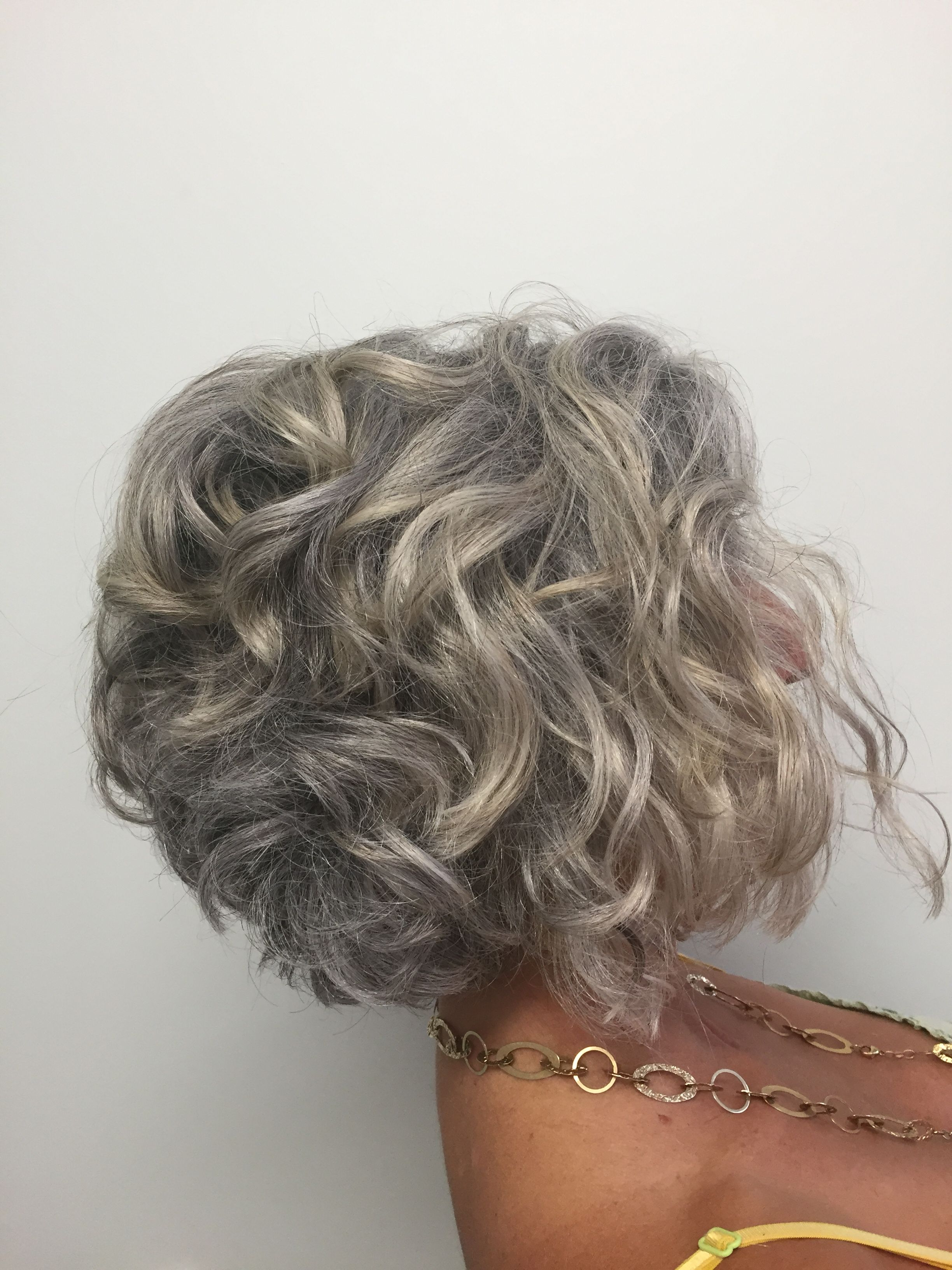 Short Curly Bob. Transitioning To Grey (View 18 of 20)