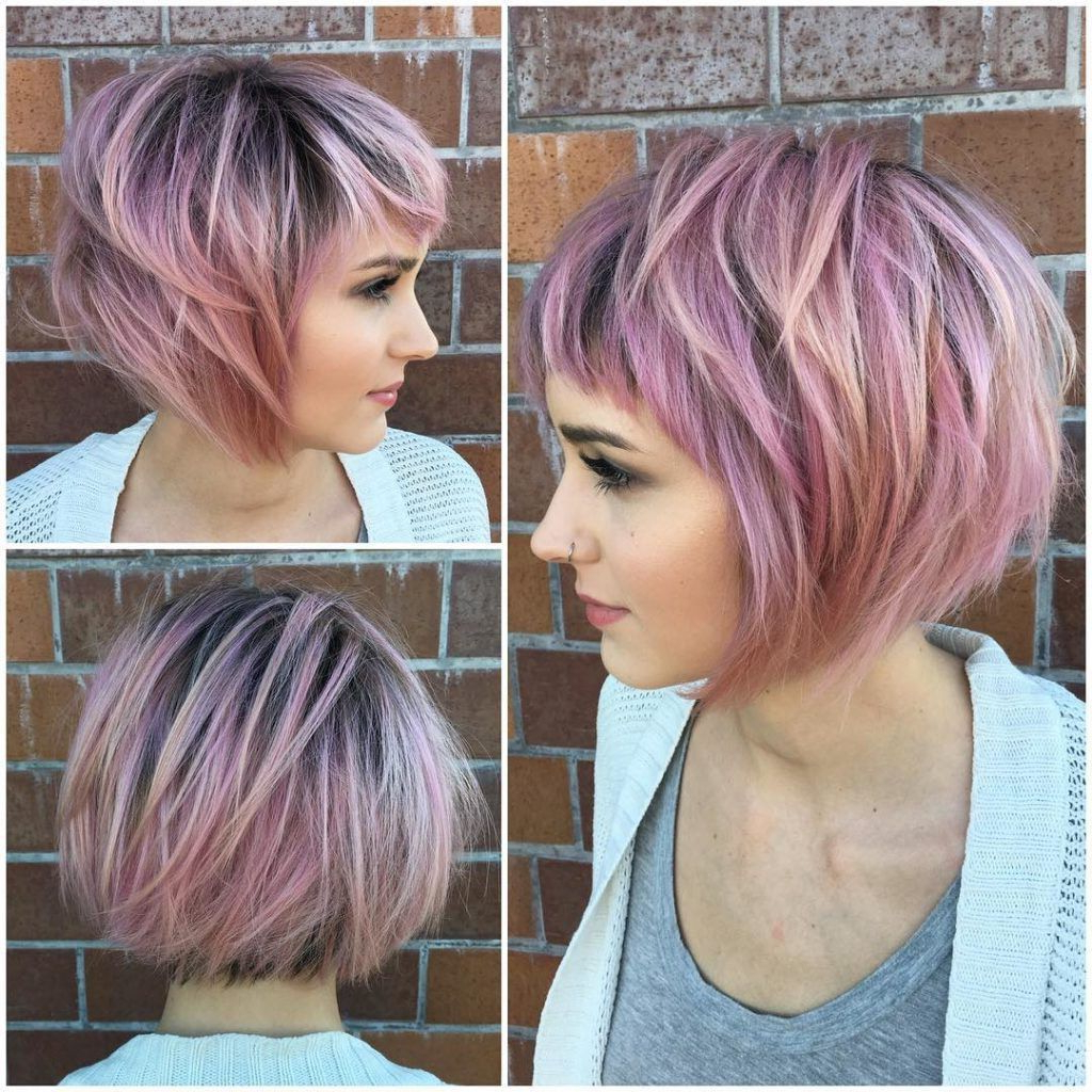 Short Messy Choppy Pink Highlighted Bob With Baby Bangs Pertaining To Short Messy Lilac Hairstyles (View 2 of 20)
