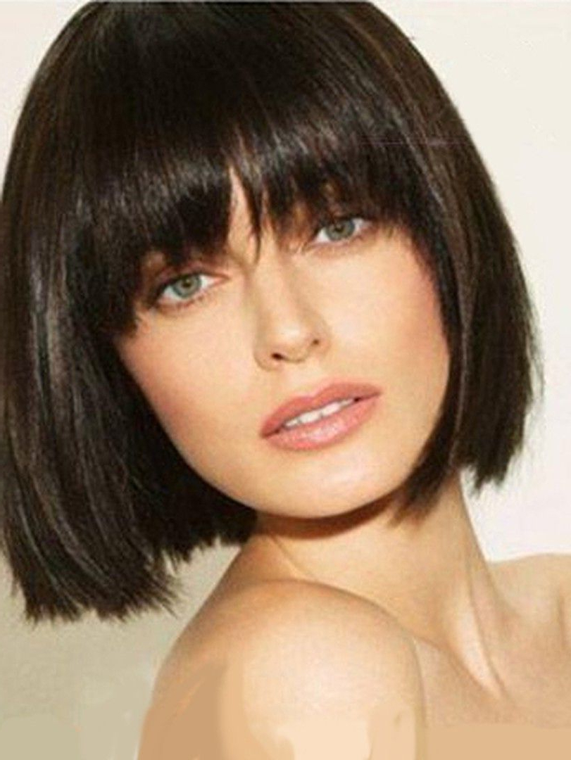 Short Straight Bob Wig 100% Human Hair With Full Bangs 10 Inches In With Regard To Straight Bob Hairstyles With Bangs (View 2 of 20)