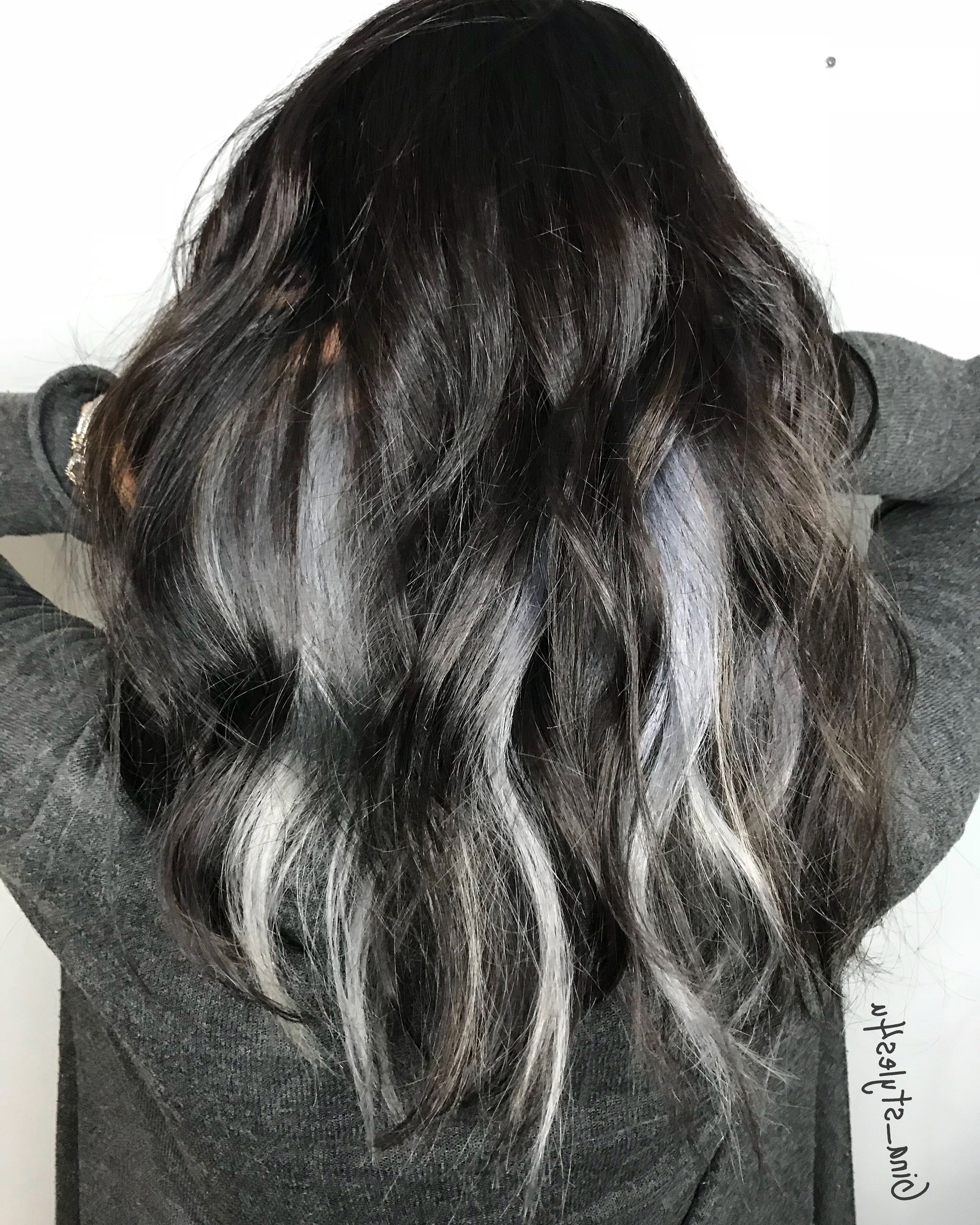 Silver Grey Hair Peekaboo Highlights | Hairdos I Did In 2018 Pertaining To Silver And Sophisticated Hairstyles (Gallery 11 of 20)