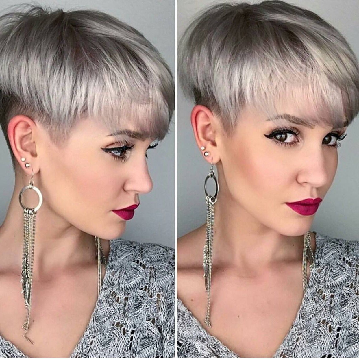 Silver Platinum Blonde Hair Color And Perfect Pixie Haircut With Regard To Silver Pixie Hairstyles For Fine Hair (View 17 of 20)
