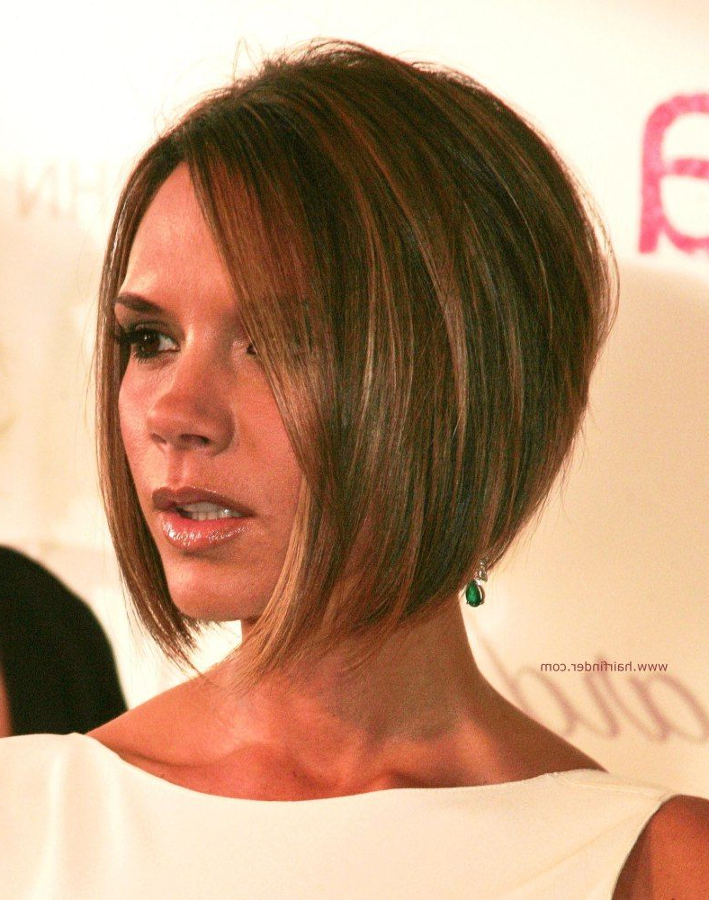 Stacked Bob Haircut Pictures | Victoria Beckham Longer In The Front Within Rounded Bob Hairstyles With Stacked Nape (View 18 of 20)