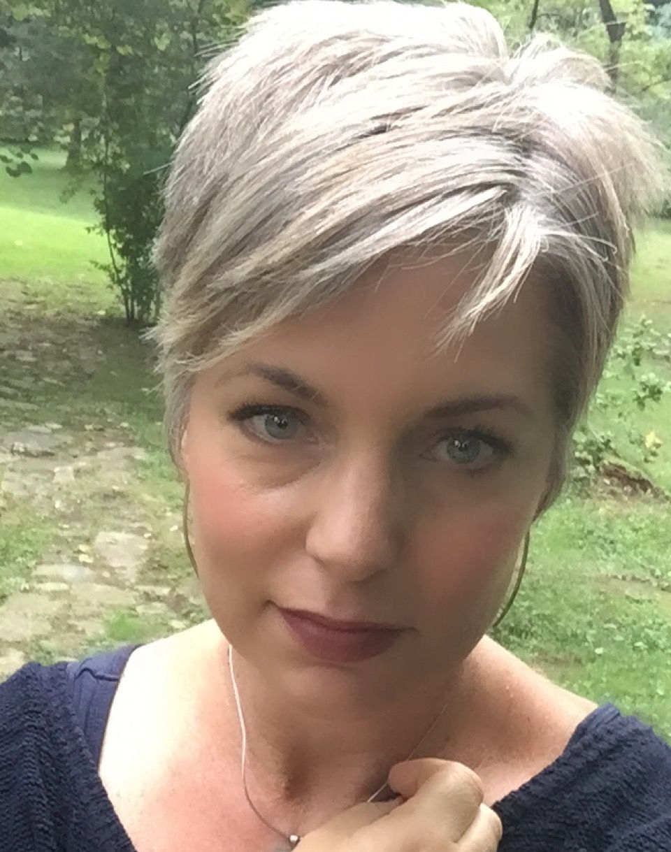 Stephanie Weisend – Grey Hair Pixie, Grey Short Haircut – | Pixie Throughout Messy Salt And Pepper Pixie Hairstyles (Gallery 5 of 20)