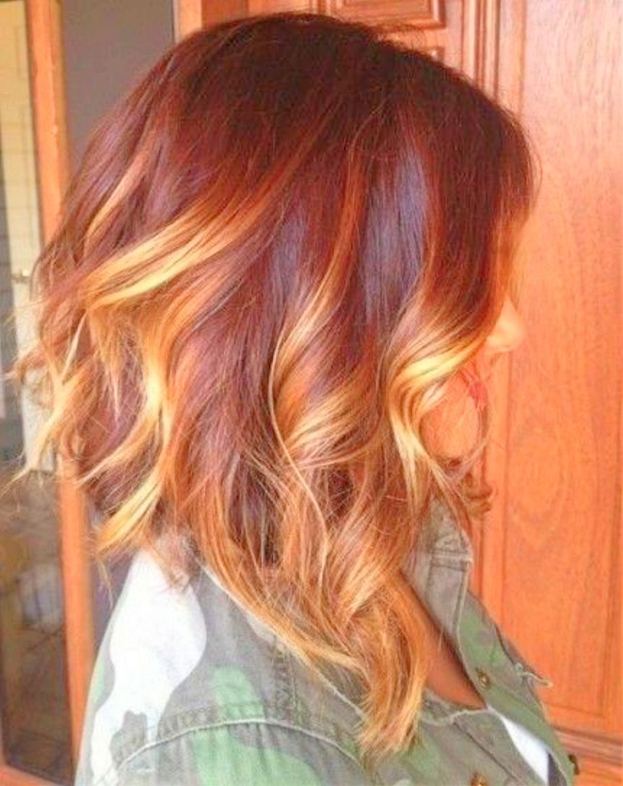Summer Red Highlights Hair Color 2015 – Google Search | Hair In 2018 Inside Burnt Orange Bob Hairstyles With Highlights (View 19 of 20)