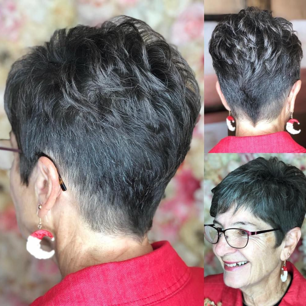 Featured Photo of Tapered Gray Pixie Hairstyles With Textured Crown