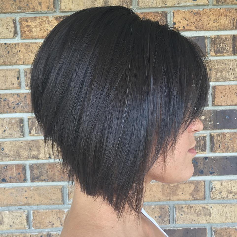The Full Stack: 50 Hottest Stacked Bob Haircuts Regarding One Length Balayage Bob Hairstyles With Bangs (View 14 of 20)