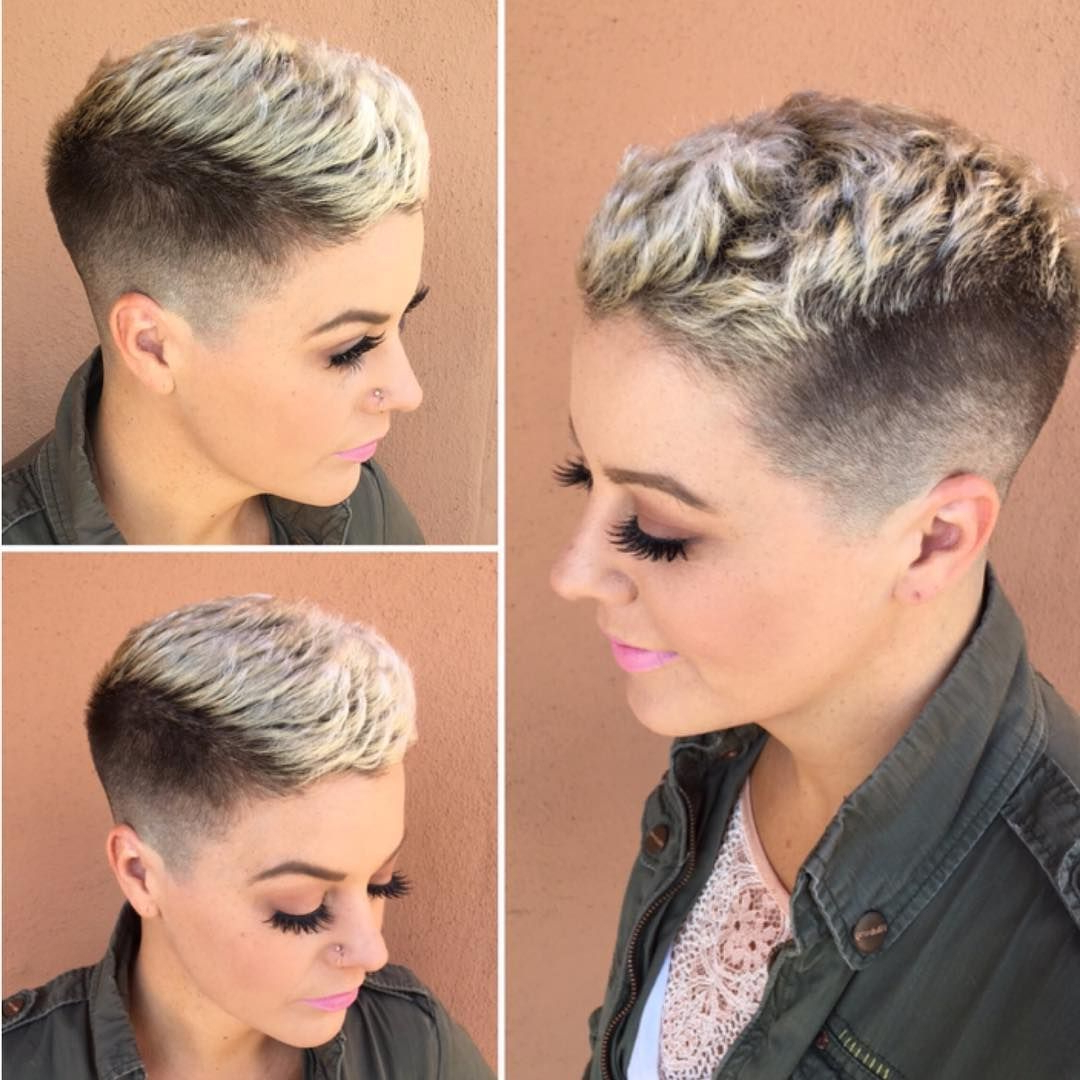 This Textured Pixie With Taper Fade And Platinum Frosted Tips Is Inside Tapered Gray Pixie Hairstyles With Textured Crown (View 4 of 20)