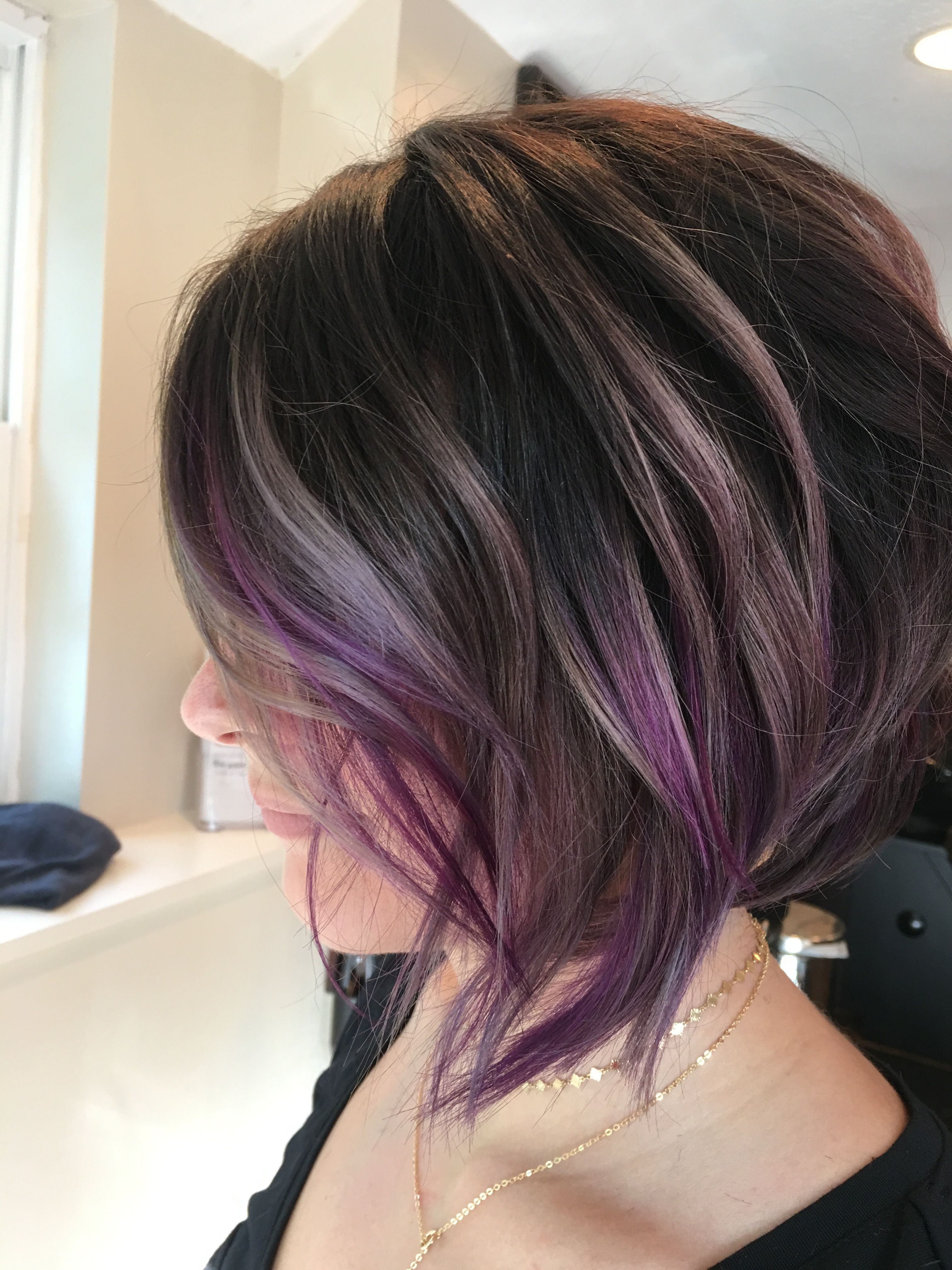 Wavy Asymmetrical Bob #pravana Locked In Purple And Silver Regarding Silver Bob Hairstyles With Hint Of Purple (View 13 of 20)