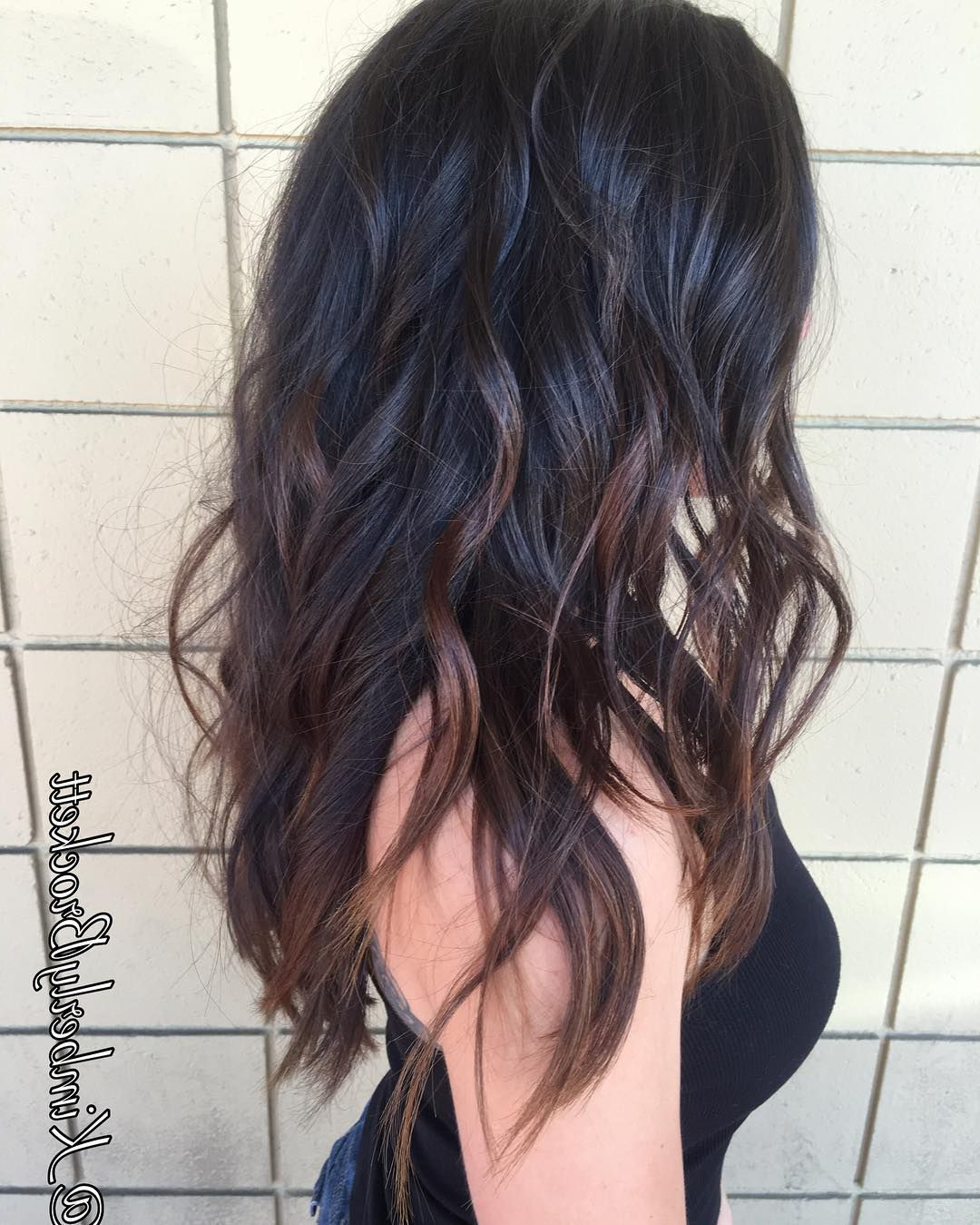Wavy Black Long Layered Hair With Chocolate Brown Balayage | Long Regarding Chic Chocolate Layers Hairstyles (View 6 of 20)