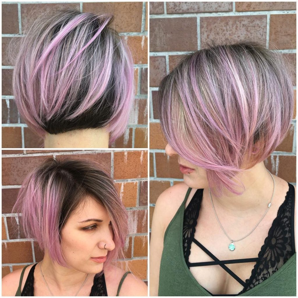 Women's Angled Undercut Bob With Brunette And Pink Two Tone Color Regarding Angled Undercut Hairstyles (View 4 of 20)