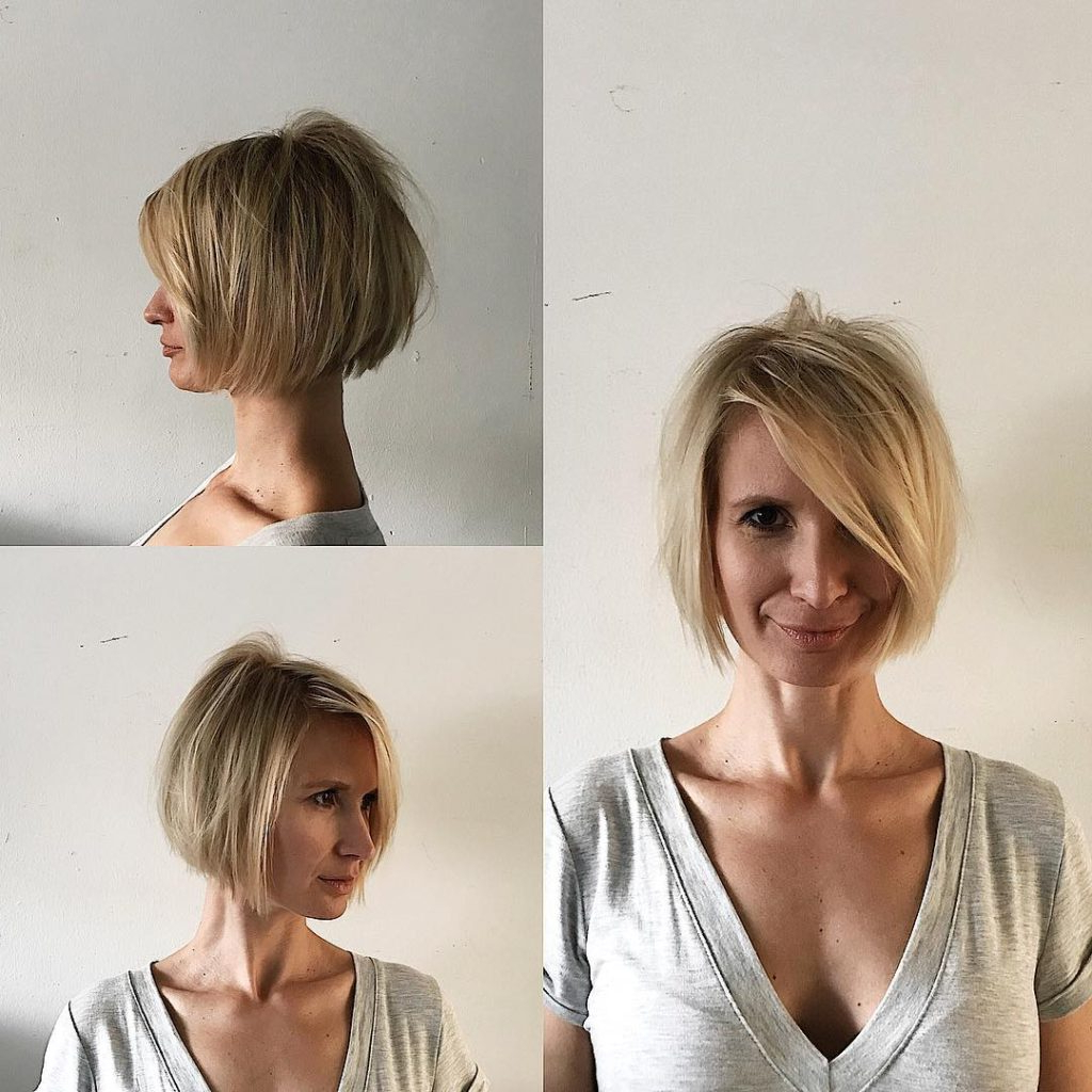 Women's Blonde Shaped Bob With Messy Texture And Long Side Swept Intended For Layered Pixie Hairstyles With Textured Bangs (View 4 of 20)