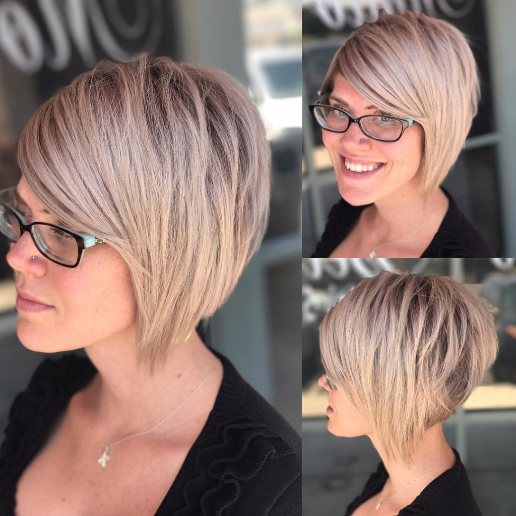 Women's Choppy Blonde Stacked Bob Short Hairstyles With Regard To Choppy Blonde Pixie Hairstyles With Long Side Bangs (View 5 of 20)