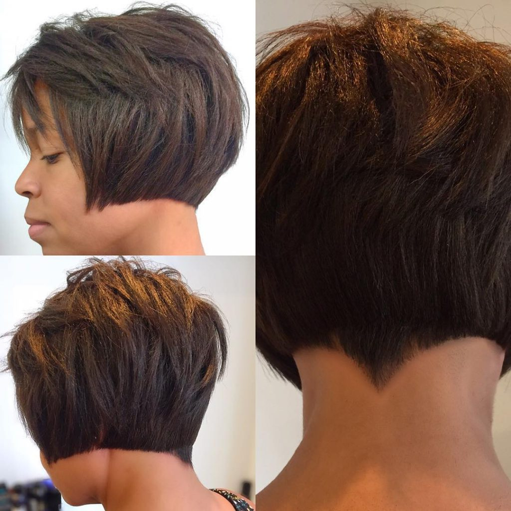 Women's Choppy Brunette Bob With Blunt Lines And Nape Detail Short For Choppy Pixie Hairstyles With Tapered Nape (View 6 of 20)