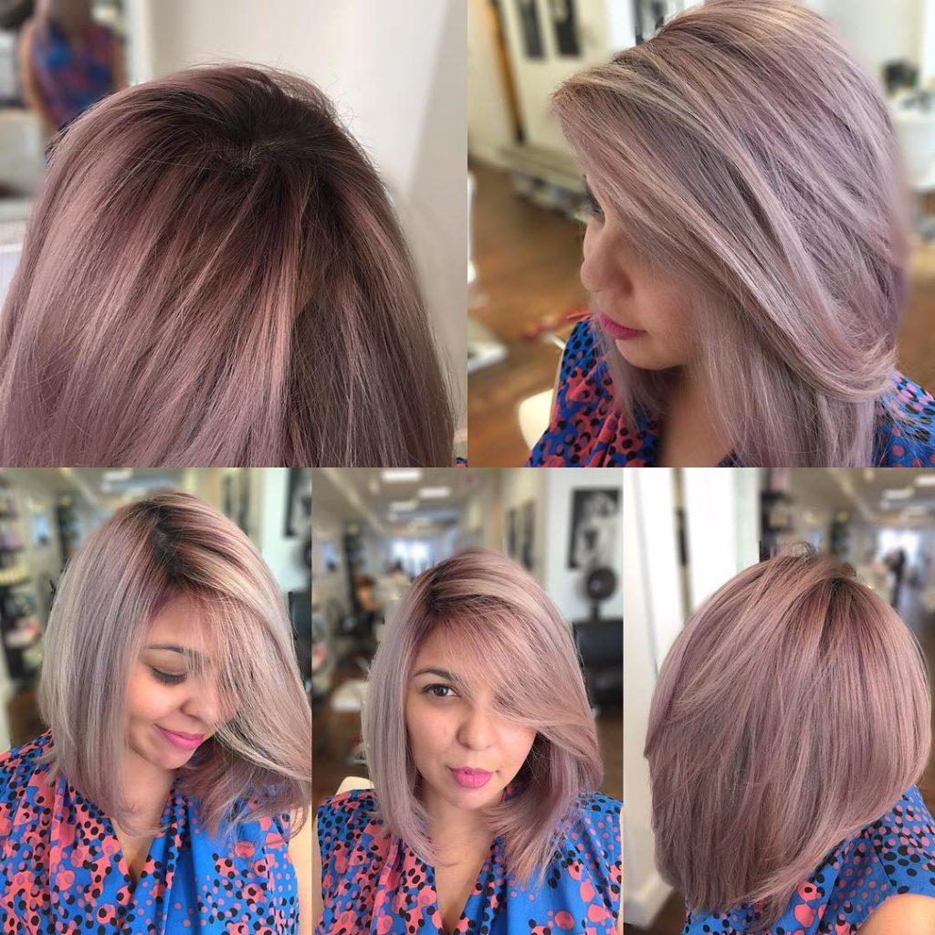 Women's Long Angled Blowout Bob With Soft Pink Ash Color Medium For Angled Ash Blonde Haircuts (View 20 of 20)