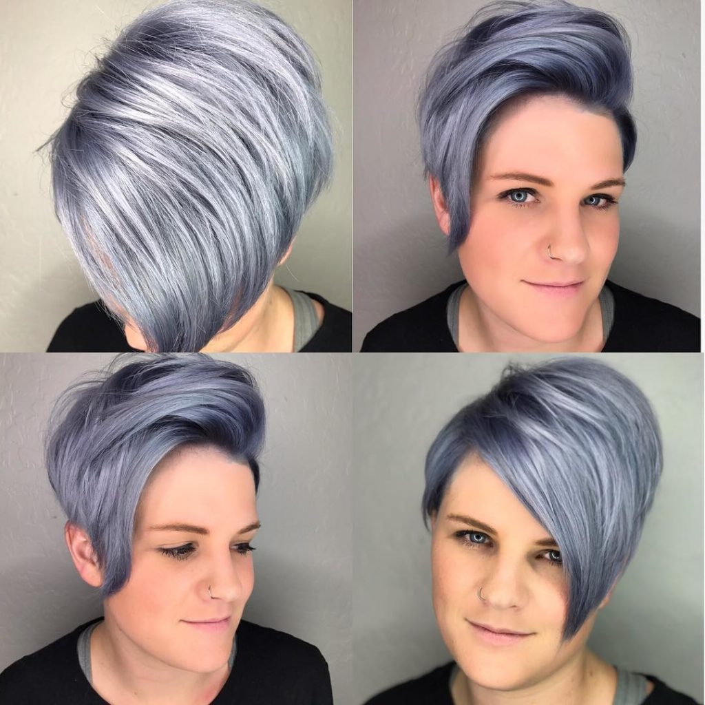Women's Modern Asymmetrical Pixie With Metallic Blue Color Short Regarding Asymmetrical Silver Pixie Hairstyles (View 5 of 20)