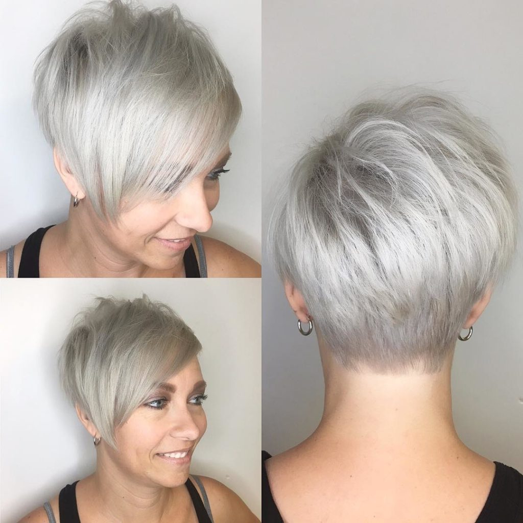 Women's Polished Platinum Asymmetrical Textured Pixie With Side In Asymmetrical Silver Pixie Hairstyles (View 3 of 20)