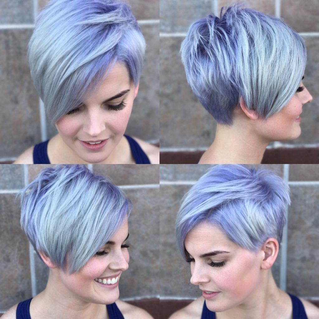 Women's Silver Asymmetrical Pixie With Side Swept Bangs And Purple Intended For Silver Bob Hairstyles With Hint Of Purple (View 19 of 20)