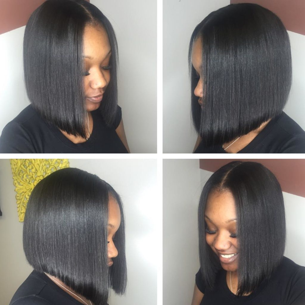 Women's Sleek Black Bob Medium Length Hairstyle Intended For Sleek Gray Bob Hairstyles (View 20 of 20)
