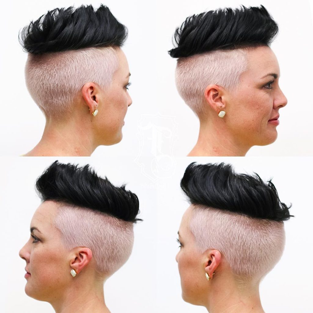 Women's Two Tone Brushed Up Undercut With Black Top Lengths Short In Voluminous Two Tone Haircuts (View 13 of 20)