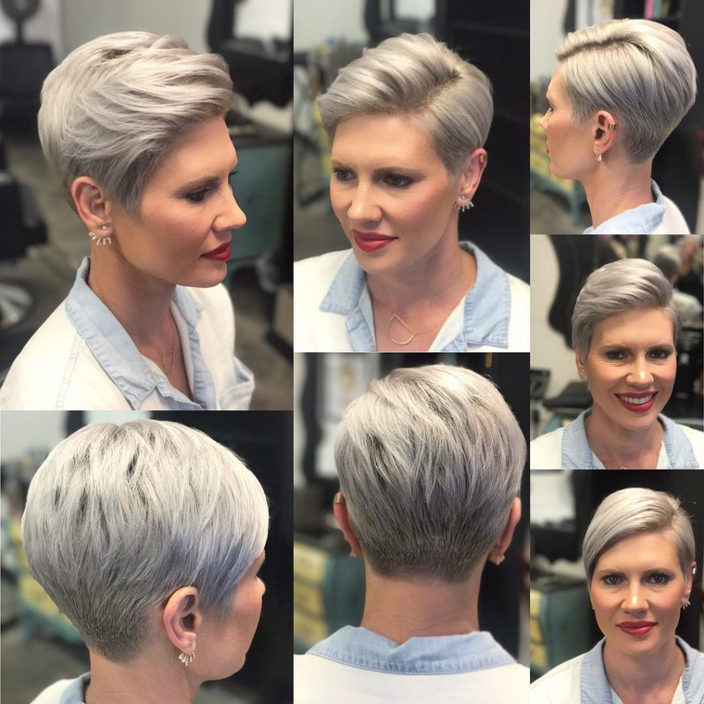 Women's Versatile Polished Pixie Cut With Platinum Color And Tapered Within Pixie Bob Hairstyles With Nape Undercut (View 3 of 20)