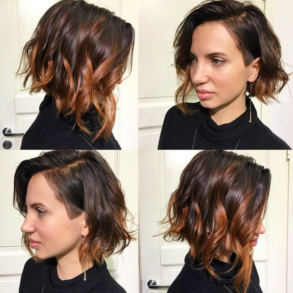Women's Wavy Angled Undercut Bob With Balayage Color With Regard To Angled Undercut Hairstyles (View 2 of 20)