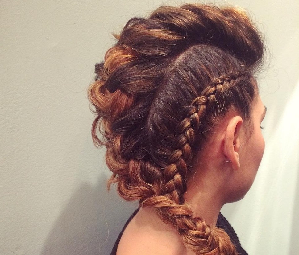 15 Faux Hawk Braid Styles From Instagram To Indulge Your Rock Chick Pertaining To Fashionable Mohawk Hairstyles With Multiple Braids (Gallery 5 of 20)