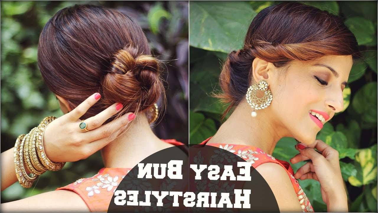 2 Min Easy Bun Hairstyles For Medium Hair/ Hairstyles For Indian In Most Popular Medium Hairstyles For Indian Wedding (Gallery 20 of 20)
