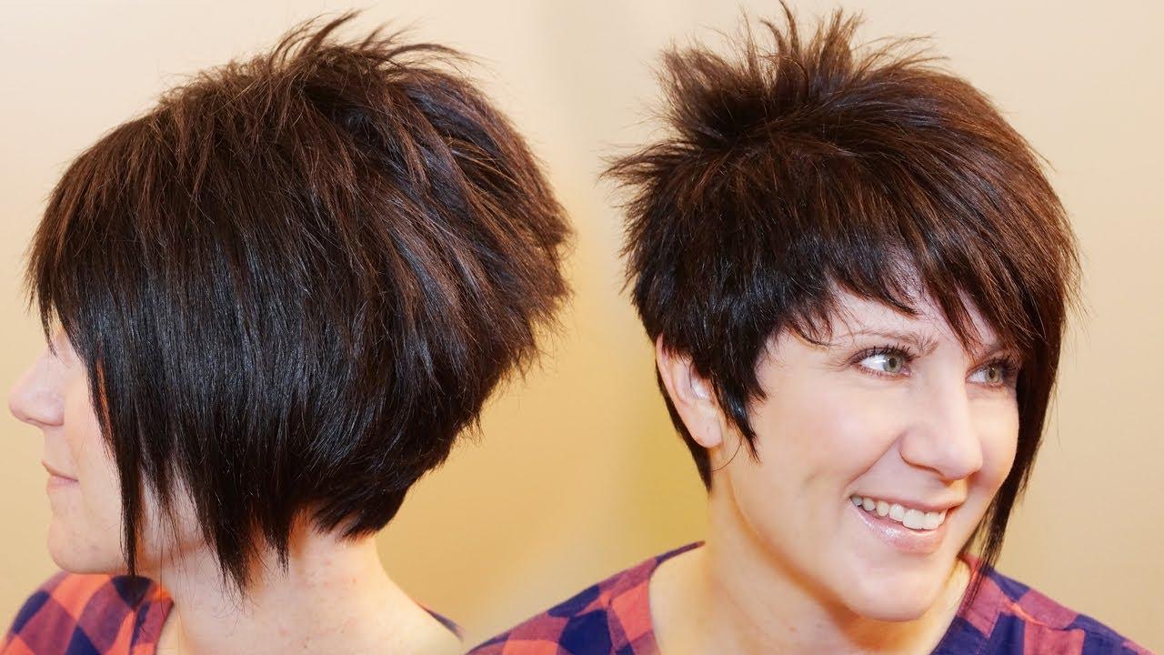 2017 Asymmetrical Pixie Faux Hawk Hairstyles Inside How To Cut Womens Hair // Short Pixie Assymetrical A Line Haircut (View 2 of 20)