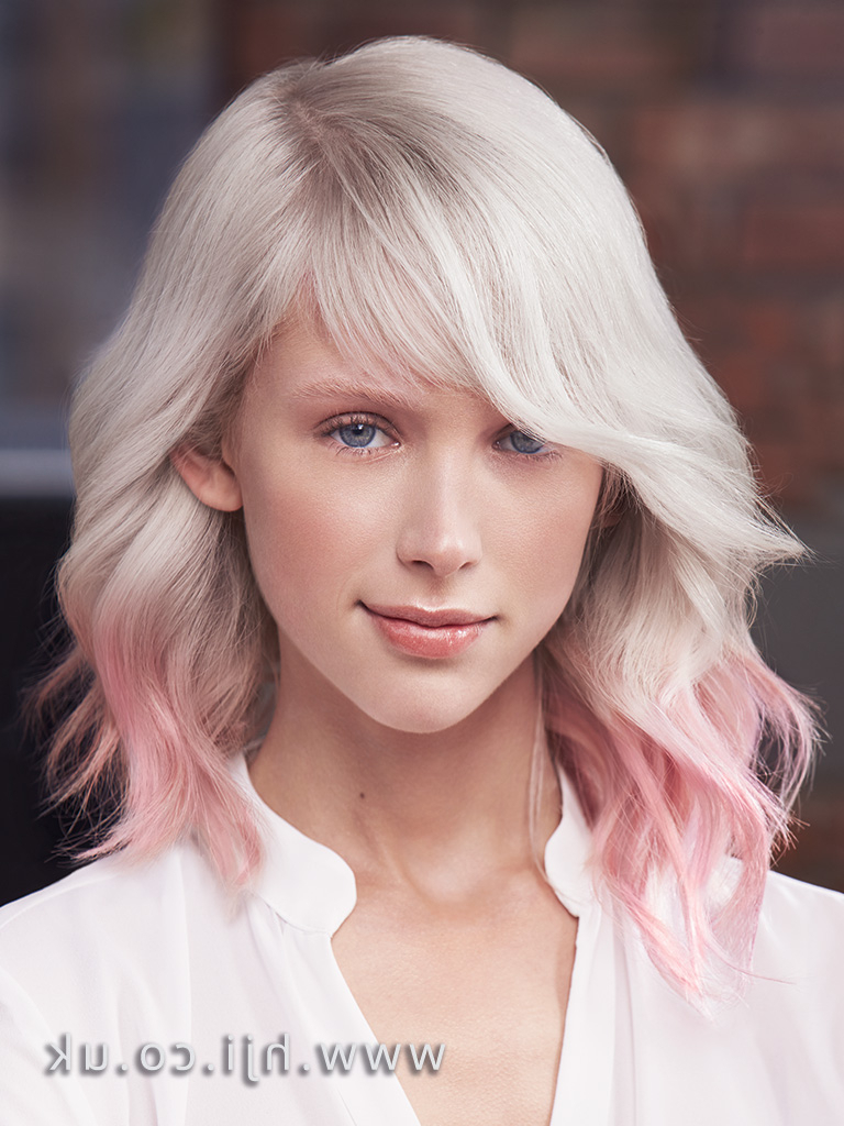 2017 Matrix Platinum Blonde Mid Length Style With Beachy Waves Side Intended For 2017 Platinum Blonde Medium Hairstyles (View 18 of 20)