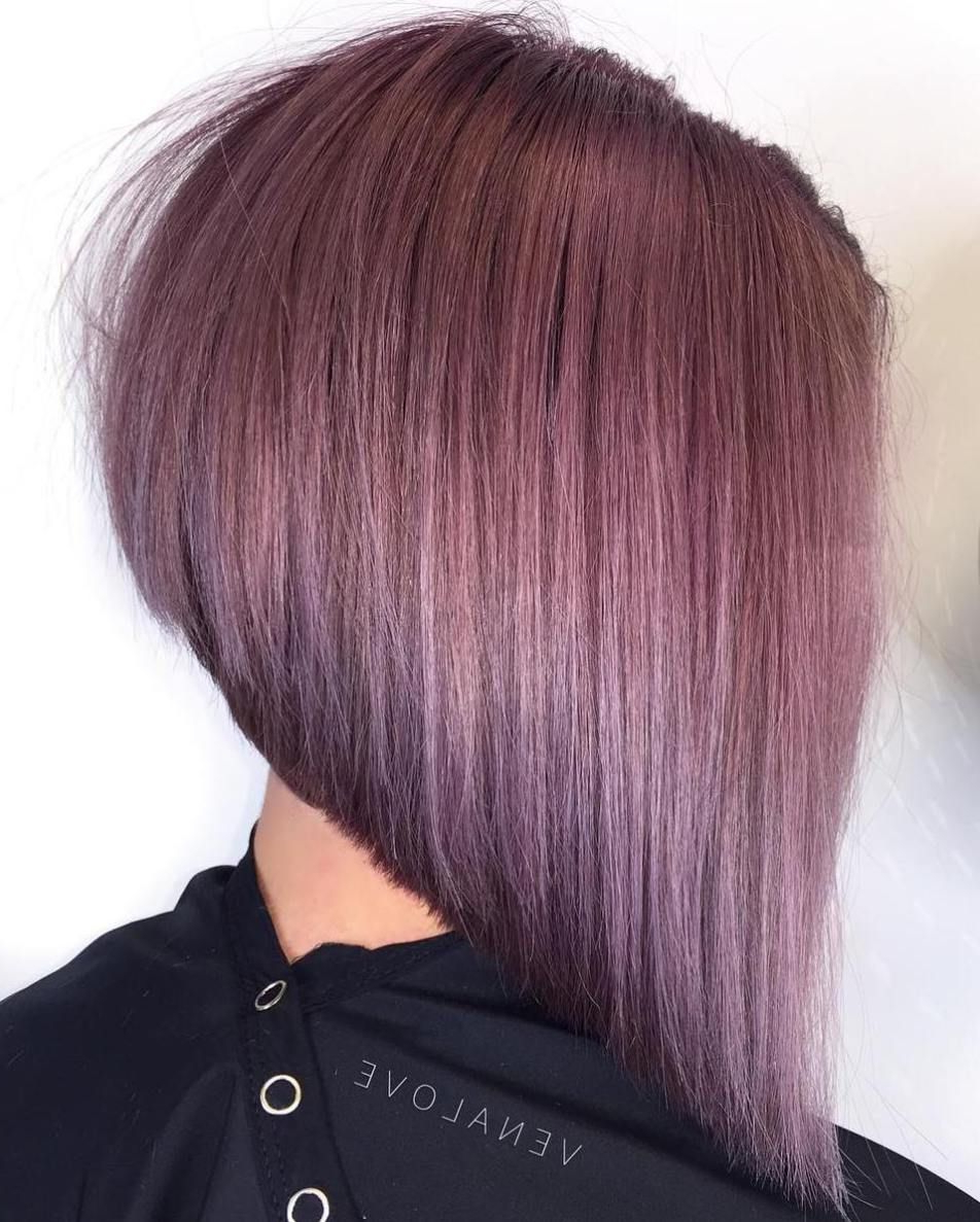 2017 Medium Angled Purple Bob Hairstyles With 40 Chic Angled Bob Haircuts In (View 15 of 20)