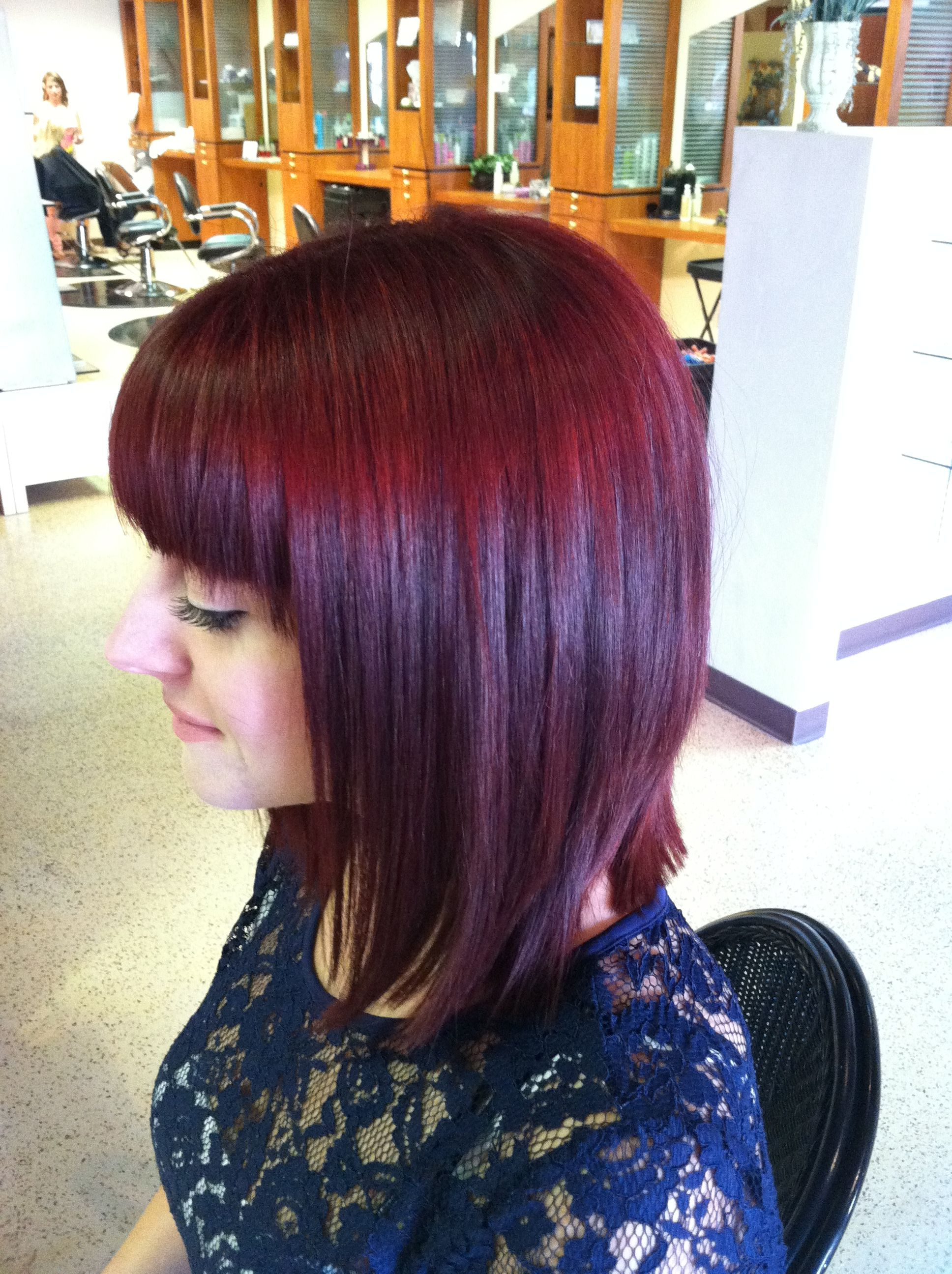 2017 Medium Haircuts With Red Color Within Red Merlot Color And Fresh Medium Haircut**love This!!! (View 8 of 20)