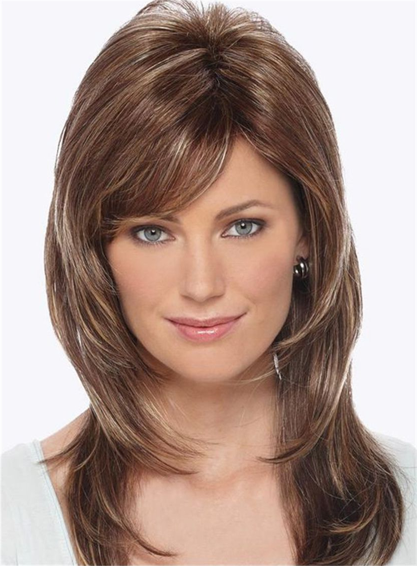 2017 Medium Hairstyles With Side Fringe With Side Fringe Layered Cut Straight Human Hair Capless Women Wigs With (View 8 of 20)