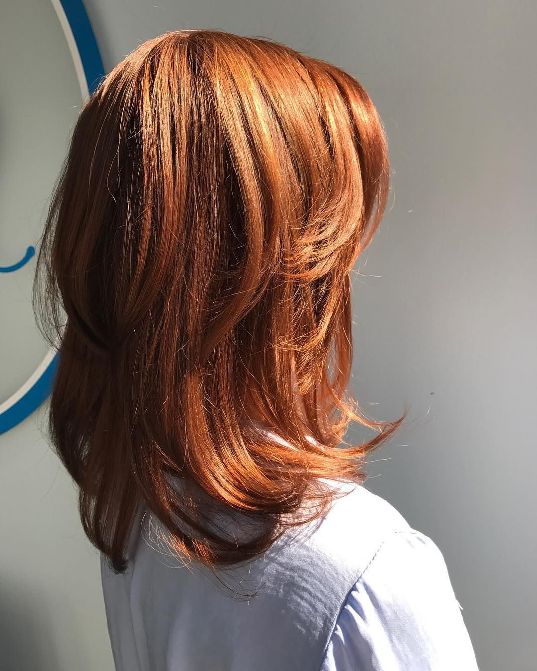 2017 Red Medium Hairstyles Throughout Copper Red Straight Medium Length Hair With Chunky Layers (View 2 of 20)