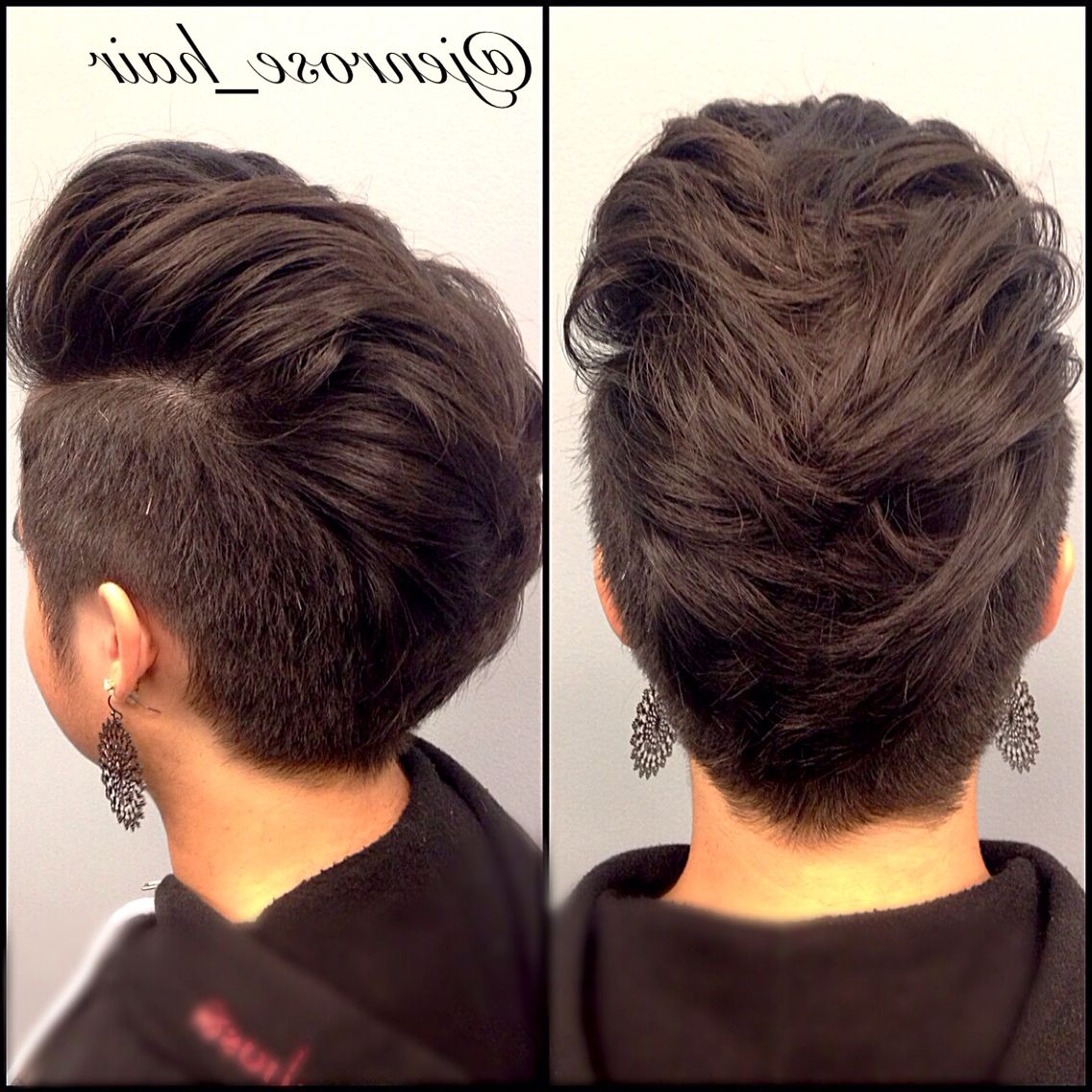 2017 The Faux Hawk Mohawk Hairstyles Throughout Women's Faux Hawk With Shaved Sides. Shorts Women's Hair Cut (View 1 of 20)