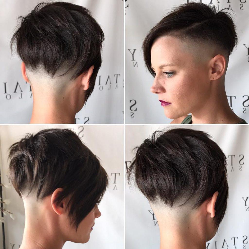 2018 Asymmetrical Pixie Faux Hawk Hairstyles Throughout Women's Brunette Choppy Asymmetrical Undercut Pixie Short Hairstyle (View 7 of 20)