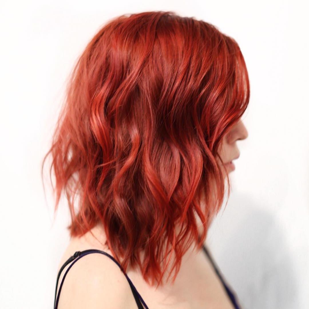 Featured Photo of Bright Red Medium Hairstyles
