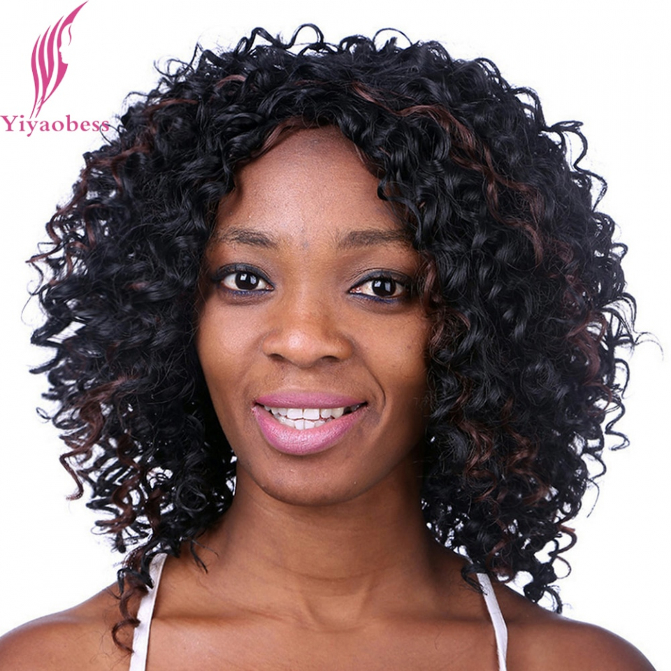2018 Curly Medium Hairstyles For Black Women With Yiyaobess 20Cm Medium Length Hairstyles Curly Wigs For Black Women (View 2 of 20)