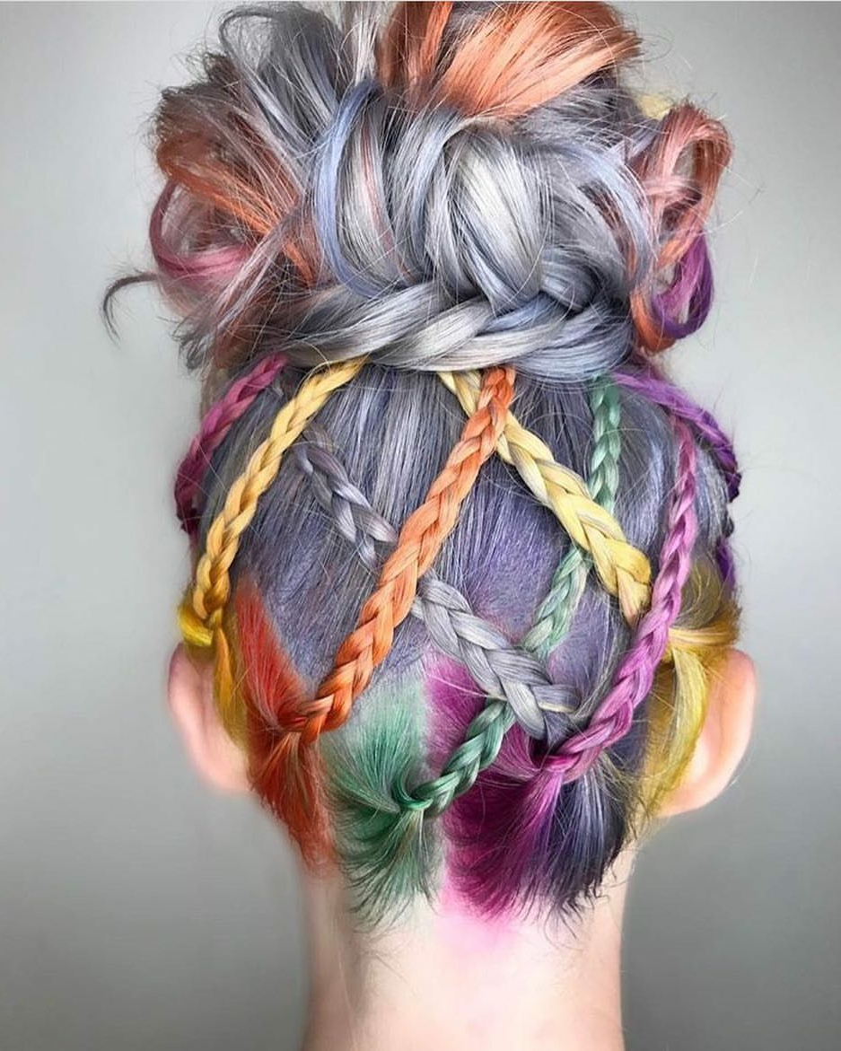 2018 Hot Pink Fire Mohawk Hairstyles With Regard To Beauty: Fantasy Unicorn Purple Violet Red Cherry Pink Yellow Bright (View 2 of 20)