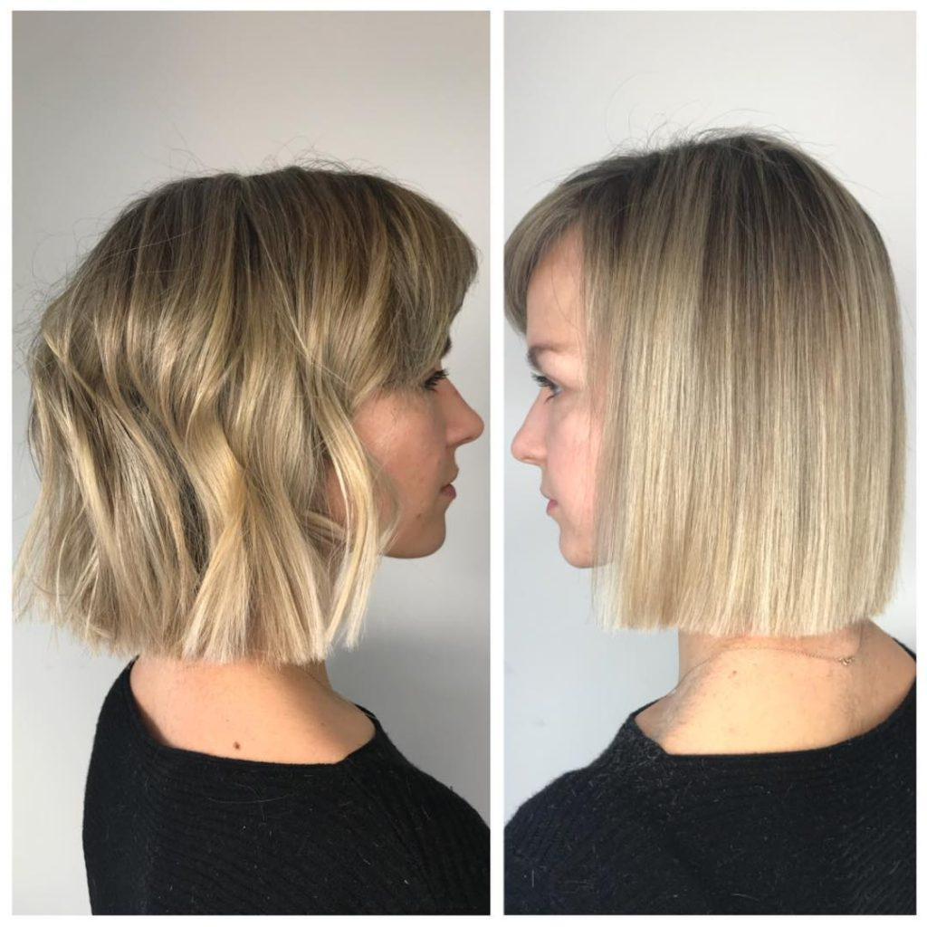2018 Medium Hairstyles Side Swept Bangs Within Women's Versatile Blonde Blunt Bob With Side Swept Bangs And Subtle (View 3 of 20)