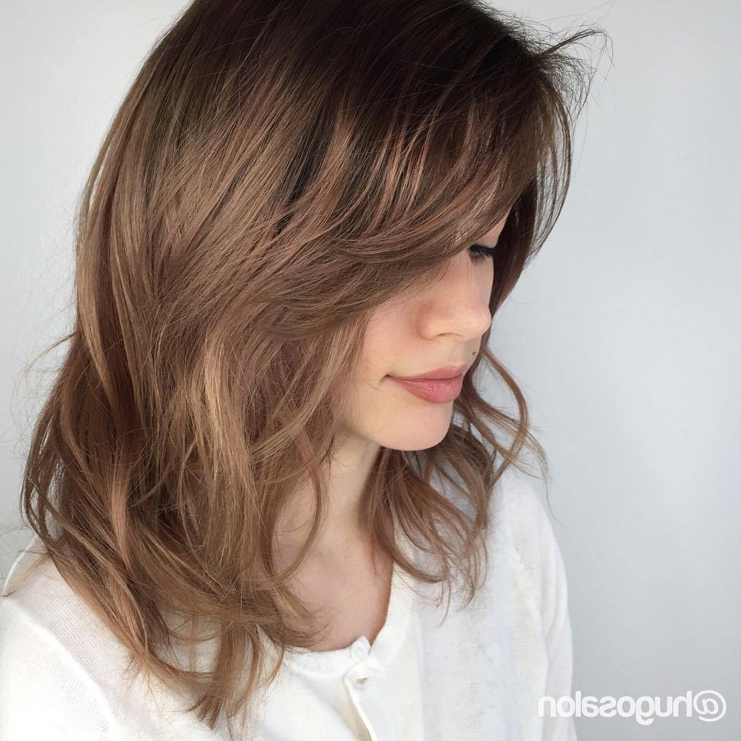 30 Cute Daily Medium Hairstyles 2018 – Easy Shoulder Length Hair Regarding Most Current Layered Medium Hairstyles With Bangs (View 1 of 20)