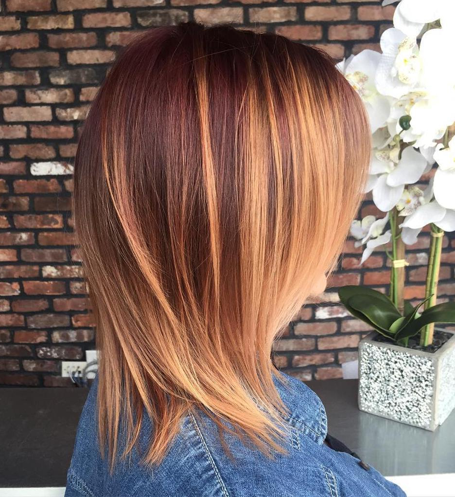 40 Amazing Medium Length Hairstyles & Shoulder Length Haircuts 2019 Within Most Popular Medium Haircuts With Red And Blonde Highlights (View 9 of 20)