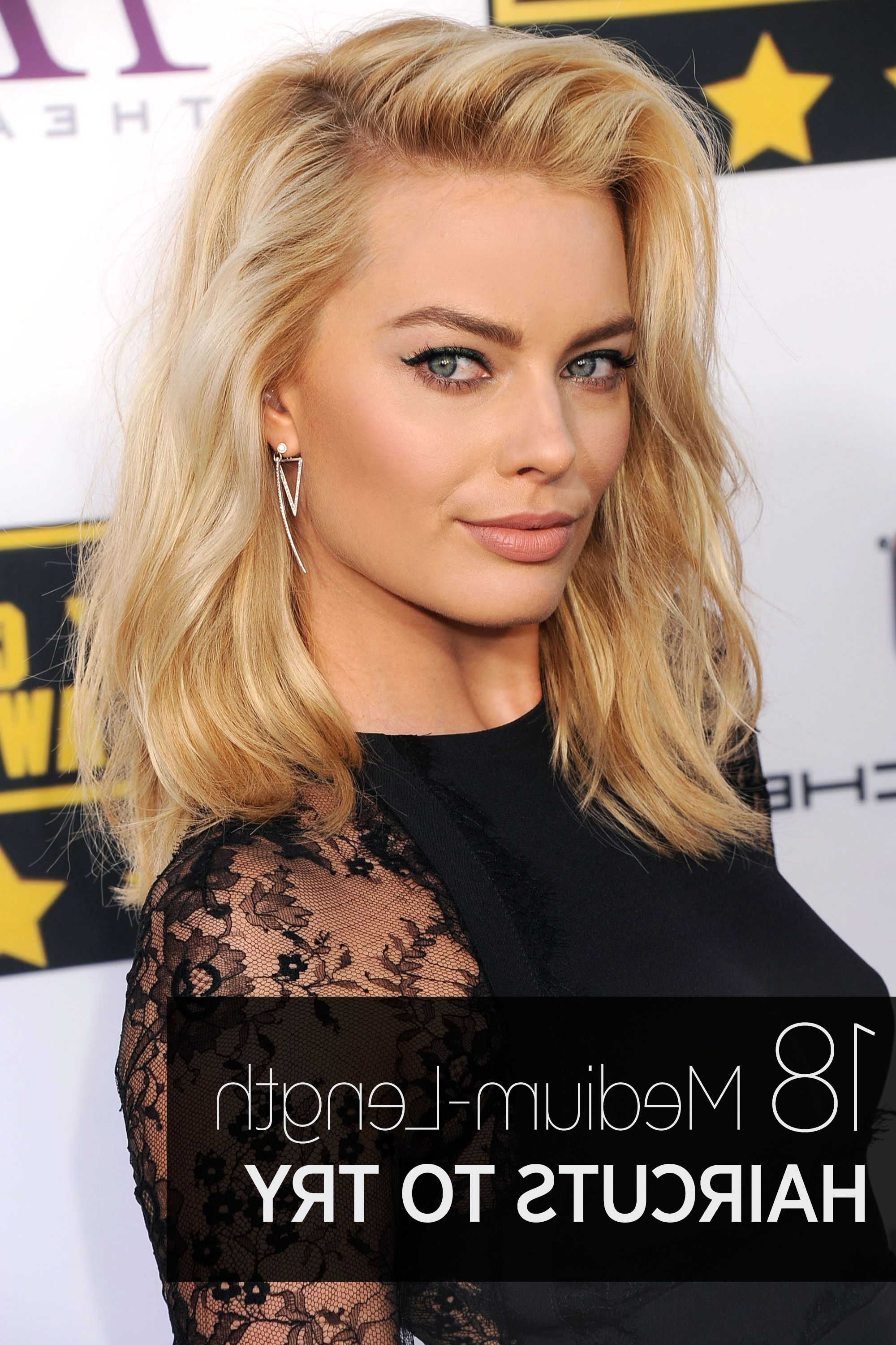 40 Best Medium Hairstyles – Celebrities With Shoulder Length Haircuts With Regard To Most Popular Middle Part And Medium Length Hairstyles (View 6 of 20)