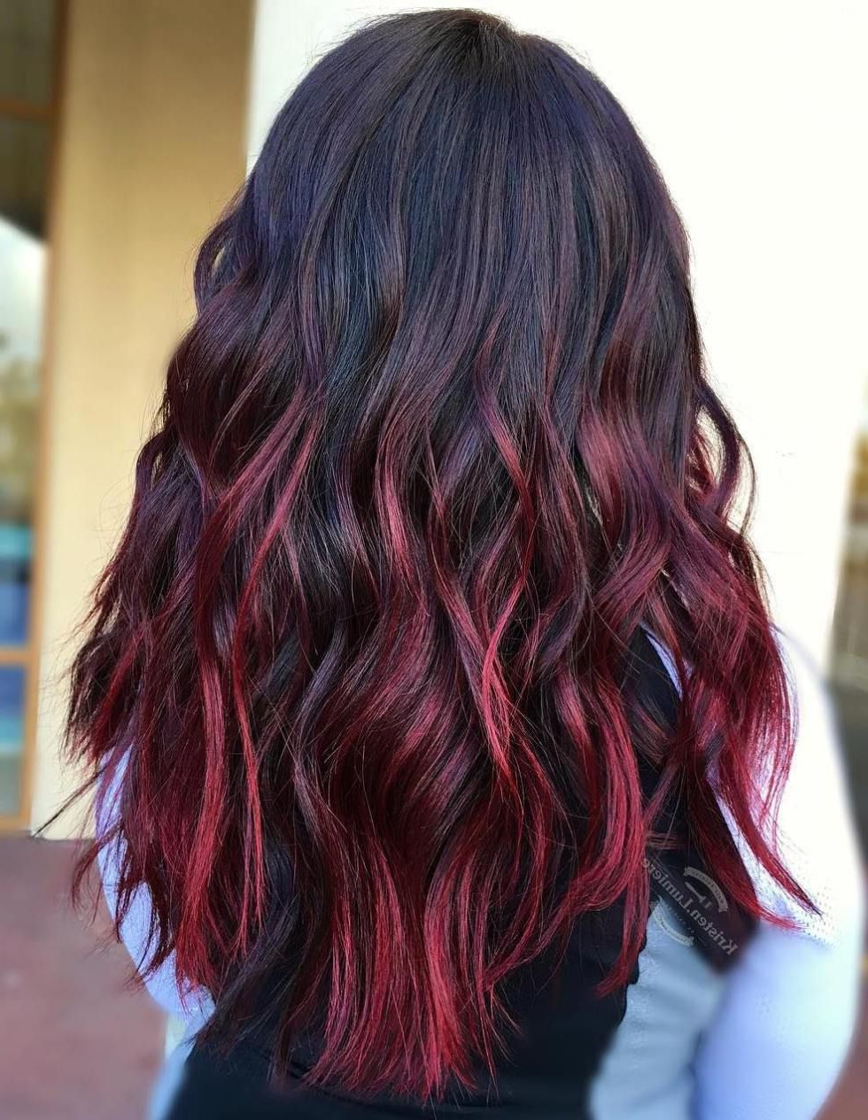 45 Shades Of Burgundy Hair: Dark Burgundy, Maroon, Burgundy With Red With Fashionable Red And Black Medium Hairstyles (Gallery 6 of 20)