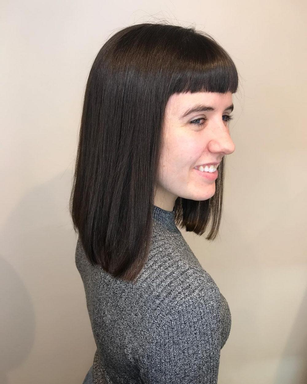 53 Popular Medium Length Hairstyles With Bangs In 2019 Throughout Most Popular Medium Hairstyles With Wispy Bangs (Gallery 18 of 20)