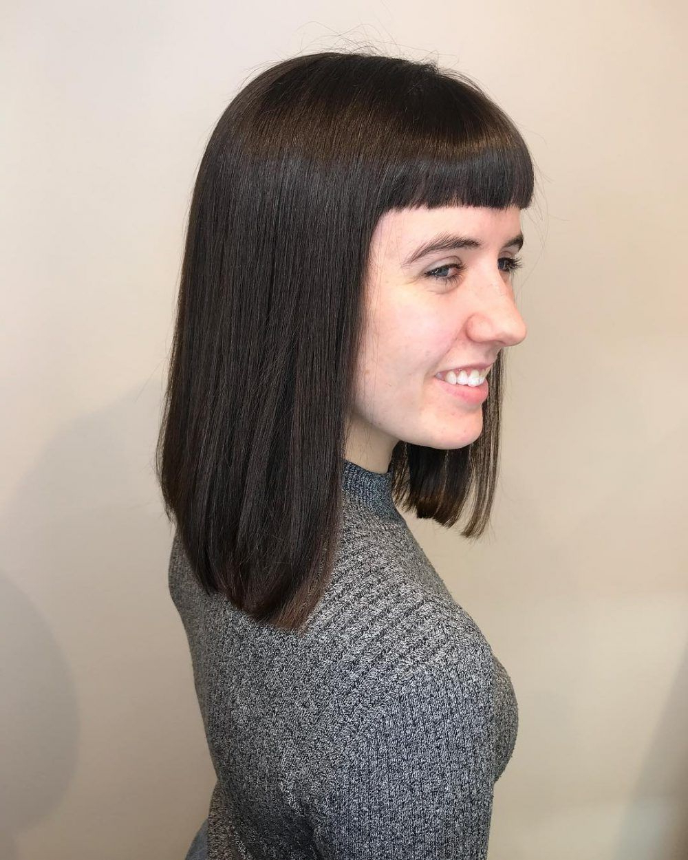 53 Popular Medium Length Hairstyles With Bangs (Updated For 2018 Within Recent Medium Hairstyles With Blunt Bangs (View 5 of 20)