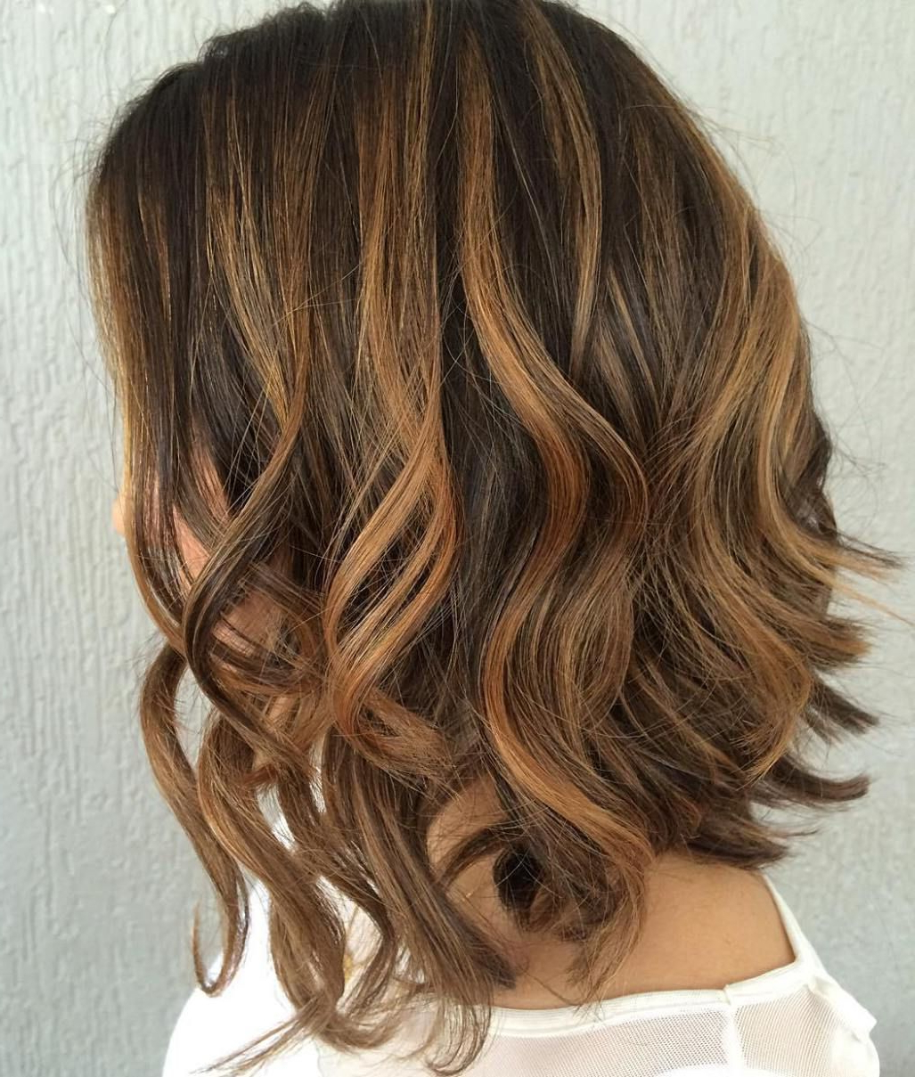 60 Looks With Caramel Highlights On Brown And Dark Brown Hair In Intended For Well Known Caramel Lob Hairstyles With Delicate Layers (View 5 of 20)