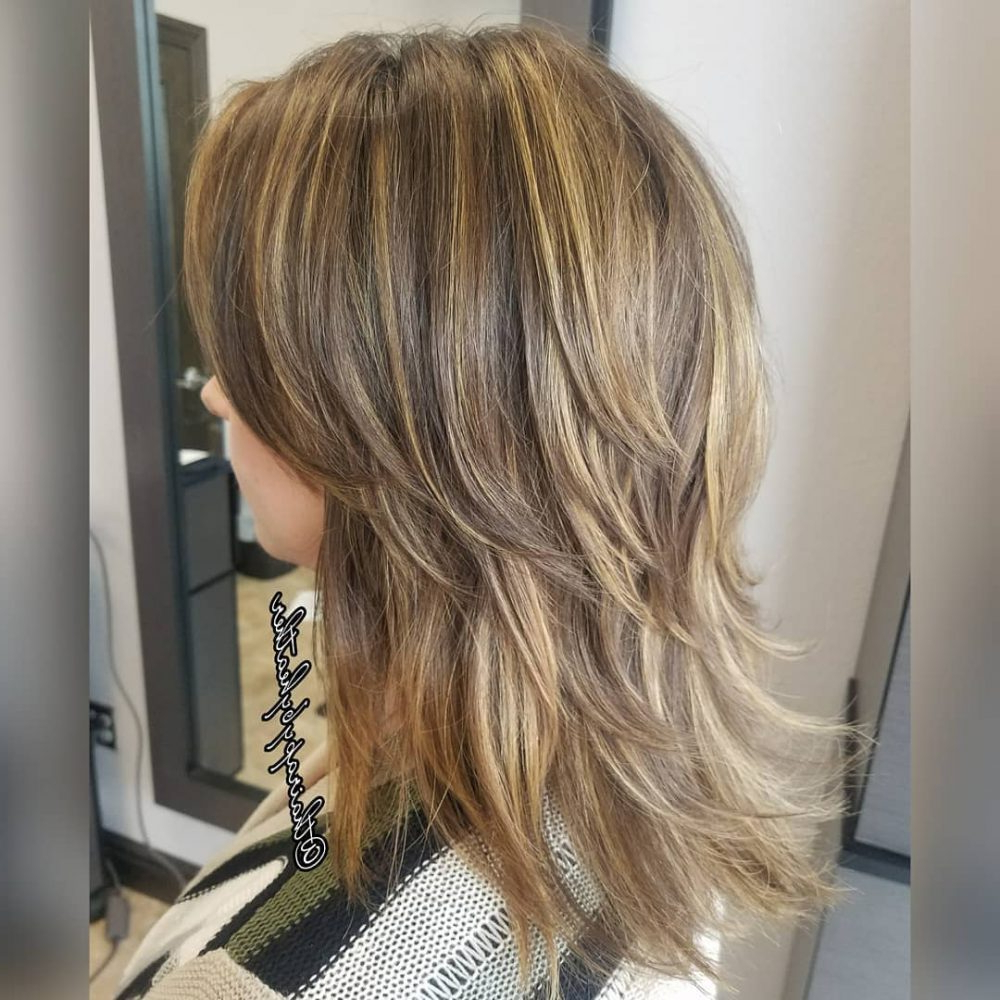 61 Chic Medium Shag Haircuts For 2019 Throughout Latest Brown And Blonde Feathers Hairstyles (View 4 of 20)