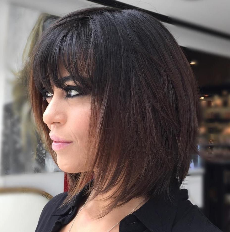 70 Brightest Medium Layered Haircuts To Light You Up In 2018 With Well Known Brunette Feathered Bob Hairstyles With Piece Y Bangs (Gallery 1 of 20)
